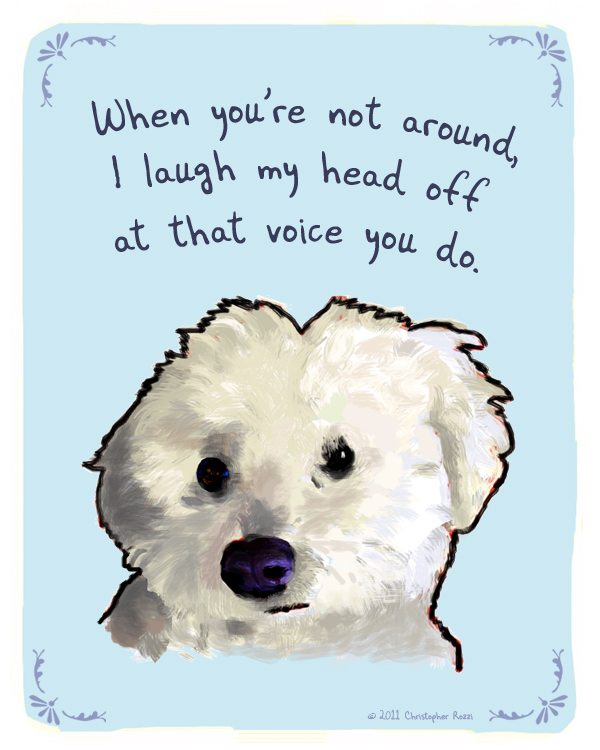 Laughing Bichon 2 blue